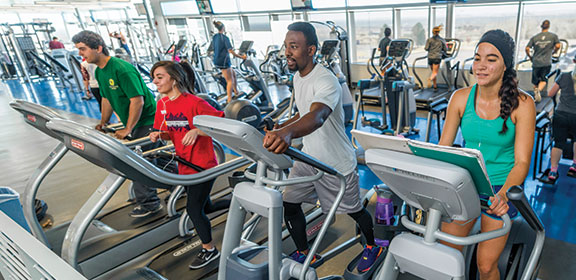 CSU-Pueblo students exercising in the student recreation center