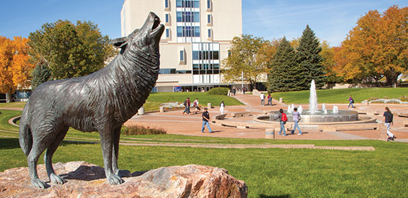ThunderWolf statue near fountain on campus of Colorado State University-Pueblo
