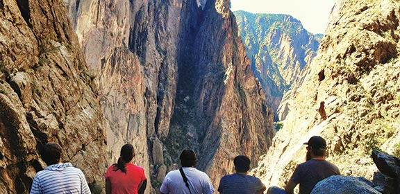 Colorado State University-Pueblo Outdoor Pursuits staff hiking the Black Canyon of the Gunnison
