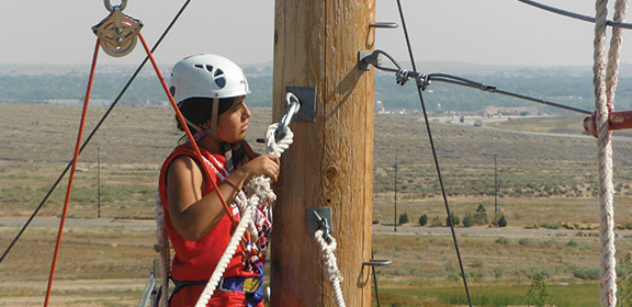 Student on the CSU-Pueblo Challenge Course