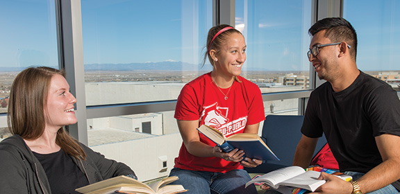 CSU-Pueblo Students working together in the Library and Academic Resource Center