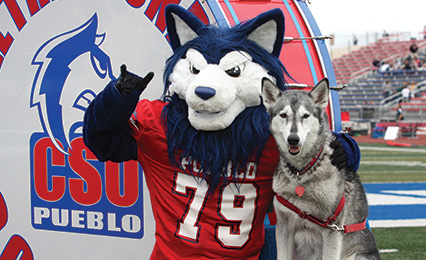 Wolfie and Tundra. Mascots of Colorado State University-Pueblo