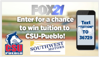 Fox 21 Text to win tuition for a year