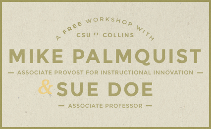 A free workshop with Mike Palmquist and Sue Doe