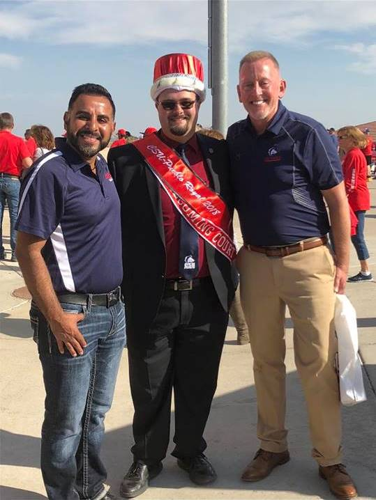 Jason Falsetto, 2018 Homecoming Royal and President, Tim Mottet with Mr. Rick Gonzalez