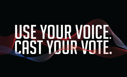 Text: Use your voice. Cast your vote.