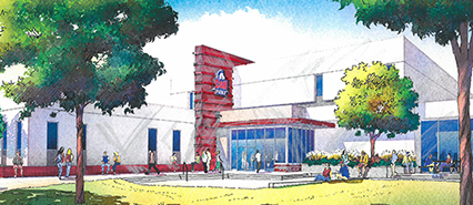 An artist rendition of the Occhiato Student Center
