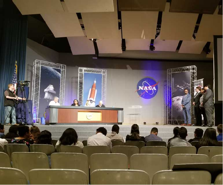 Students being recognized by NASA