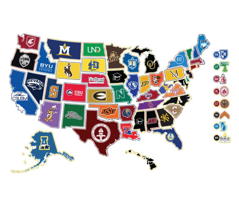 US Map with safest college campus logos in each state